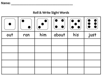 Roll & Write Sight Word Activity Packet