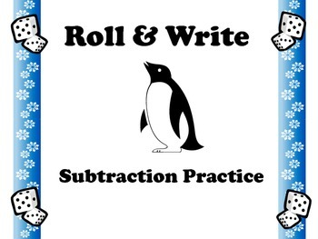 Penguin Roll & Write Subtraction Practice