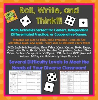 Dice Math Activities - Math Skills Set- Upper Elementary Math Skills