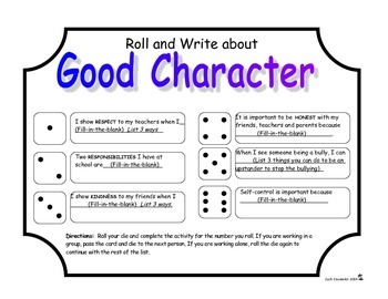 Roll, Write and Discuss Good Character Traits