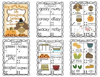 Roll, Write and Illustrate Silly, Thanksgiving Sentences