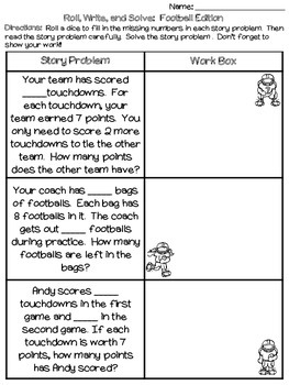 Roll, Write, and Solve (Football Edition): Multi-Step Story Problems