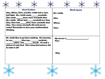 Roll, Write, and Solve Winter  Word Problems