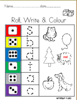 Roll, Write and colour ( Dice Game work sheets)