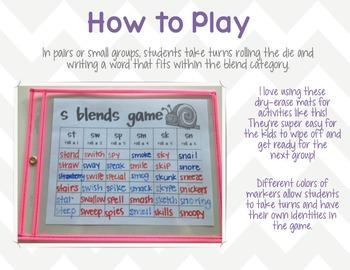 Roll-a-Blend Word Work Games