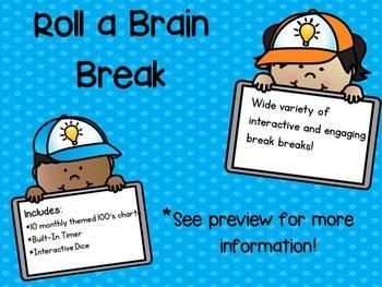Roll a Brain Break - Monthly Themed 100's Chart  (PreK/Kinder Version)