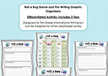 Roll a Bug Game and Informational Pre-Writing Worksheets