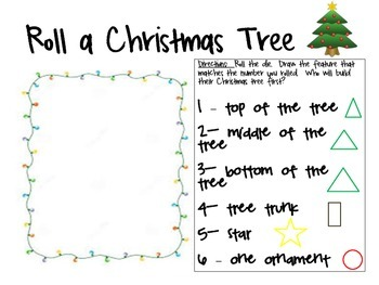 Roll a Christmas Tree Activity