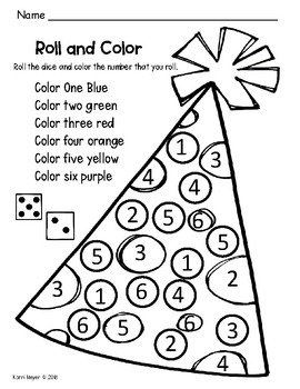 Roll and Cover Number Sense Party Hat