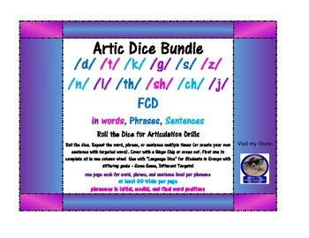 Roll-a-Dice Artic BUNDLE! /d, t, k, g, s, z, n, l, th, sh, ch, j/ and FCD
