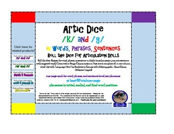Artic Roll-a-Dice: /k/ and /g/ in words, phrases, and sentences