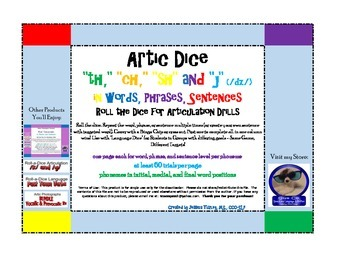 """Roll-a-Dice Artic: /sh, ch, th, dz (""""j"""")/ in words, phrases, and sentences"""
