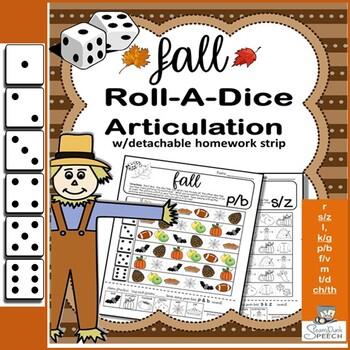 Roll-a-Dice FALL/AUTUMN Articulation: NO PREP Worksheets w/ Detachable Homework!
