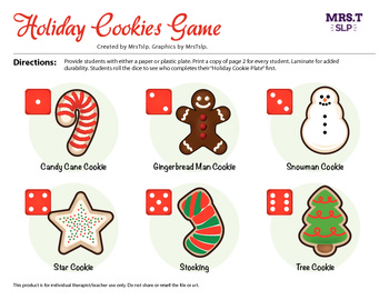 "Roll a Dice ""Holiday Cookie Plate"": A reinforcer for speech therapy/craftivity"