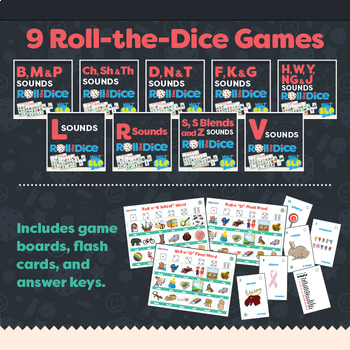 Articulation Dice Games BUNDLE for Speech Therapy