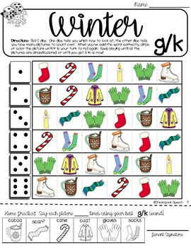 Roll-a-Dice WINTER Articulation:  NO PREP Worksheets with Detachable Homework!