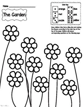 Roll The Dice Game and color flowers with graphs and questions
