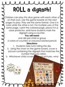 Phonemic Awareness: Roll a Digraph- A Consonant Digraph Game