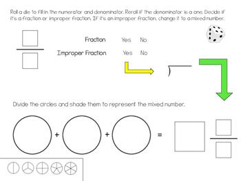 Roll-a-Fraction Math Center Activity