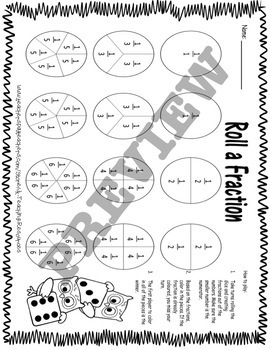 Roll-a-Fraction Math Dice Game 3.NF.A.1, 3.NF.A.3.B
