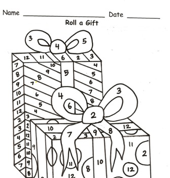 Roll a Gift Addition Practice to 12