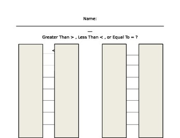 Roll a Greater than, Less Than, Equal To Math Center Worksheet