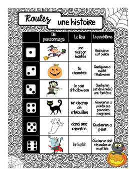 Roll a Halloween Story - French and English versions included