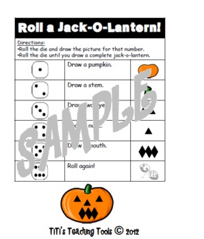 Roll a Jack-O-Lantern Math Fun!