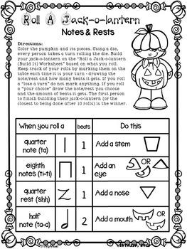 Roll a Jack-o-Lantern (Notes & Rests)
