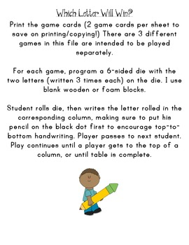"""Roll a Letter Game With Common """"reversal"""" writing practice"""