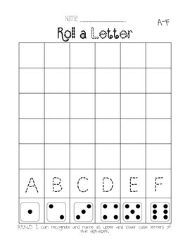 Roll a Letter - Letter Naming Fluency