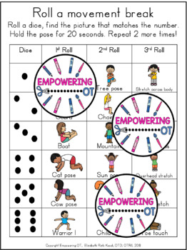 Roll a MOVEMENT BREAK! Whole class or indiv student, prek123