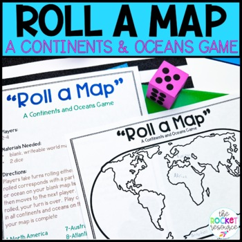 """""""Roll a Map""""  Continents and Oceans Game"""