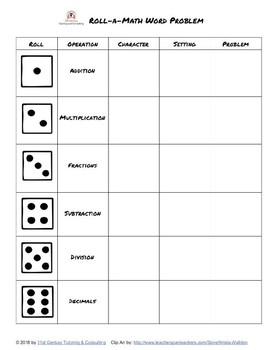 Roll-a-Math Word Problem!