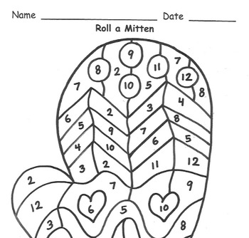Roll a Mitten Addition Practice to 12