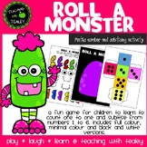 Math Halloween Number Game - Roll a Monster