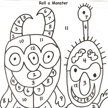 Roll a Monster Addition Practice to 12