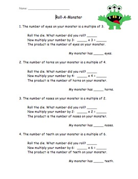 Roll a Monster Multiplication Practice Activity
