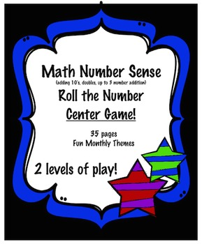Roll a Number  Center:  Great Number Sense Activity Fun Themes