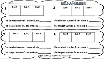 Roll a Number: Differentiated Activity Sheets