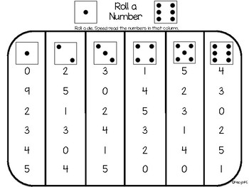 Roll-a-Number Fluency Game