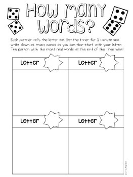 Dice Games Math and Reading Freebie