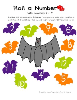 Roll a Number Math Game- Halloween Themed - Numerals 2 - 12