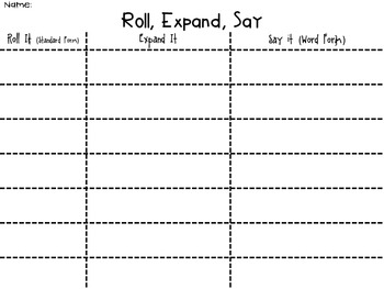 Roll a Number (Standard, Expanded, Word Form)