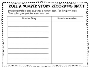 Roll a Number Story/Word Problem (Addition & Subtraction) 12 Months