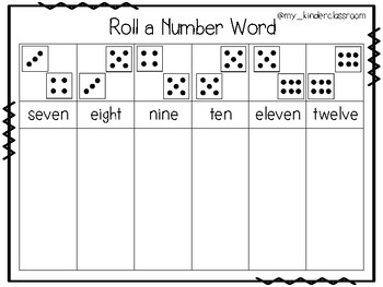 Roll a Number Word