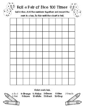 Roll a Pair 100 Times - 100th Day Activity