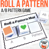 Roll a Pattern Dice Game with AAB Patterns Worksheets