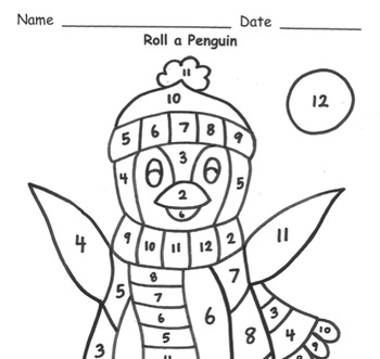 Roll a Penguin Addition Practice to 12