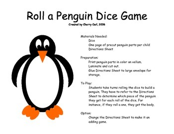 Roll a Penguin Dice Game